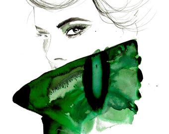 Original mixed media fashion illustration, Glancing Back, by Jessica Durrant
