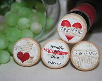 Heart Personalized Wine Stoppers, Wood Wine Stoppers, Wedding Wine Favors, Bridal Favors- Choose From 20 Designs Add Your Wording