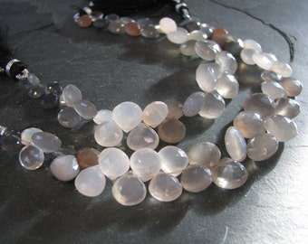 Shaded Gray Moonstone heart briolettes, faceted Moonstone, full 7 inch strand, 6-12mm (w24)