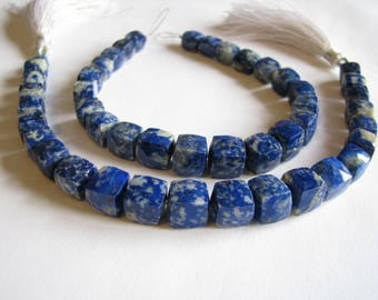 Lapis Lazuli faceted cubes, 7 inch strand, 7-9mm (w183)