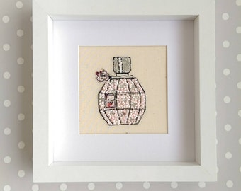 Handmade Flowerbomb Perfume Bottle Embroidered Picture. Freehand machine embroidery, beaded and framed. Mother's Day Birthday