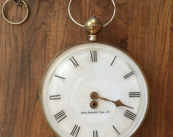 Large wall pocket watch look clock Josiah Wentworth & Sons
