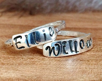 Sterling Silver Stackable Name Rings - Gifts For Mothers - Custom Name Jewelry - Personalized Ring