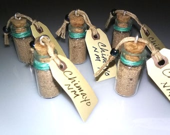 Holy Dirt from Santuario de Chimayo, New Mexico, in sealed glass micro vials, as necklace or keepsake, qty. 1 each