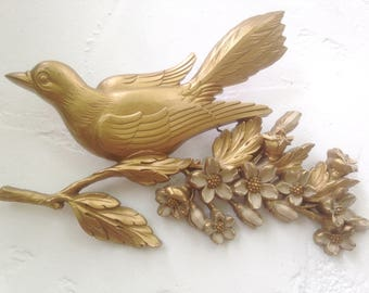 Darling Vintage SYROCO Gold Bird Plaque / 60's Gilded BIRD on Dogwood Tree Branch / Bird with FLOWERS Wall Decor