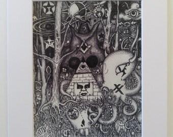LOGOS Conspiracy Art Bohemian Grove Owl All Seeing Octopus Pyramid Pen & Ink Print Matted 11x14
