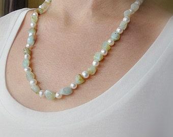 Amazonite freshwater pearl Necklace. Natural Amazonite jewelry