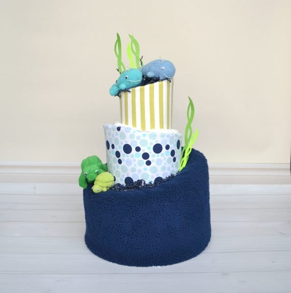 Under The Sea Baby Shower, Under The Sea Shower Decor, Diaper Cake, Whale Baby Shower, Whale Shower Decor, Turtle Baby Shower, Ocean
