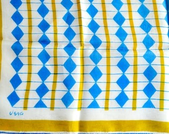 Vintage Vera Silk Scarf - Geometric Turquoise and Chartreuse