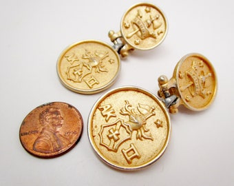 "Vintage Anne Klein Crown Coat of Arms Crest Knight Shield 2"" Dangle Coin Clip On Earrings Runway Statement"