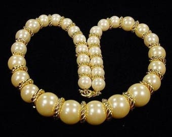 Vintage Joan Rivers Champagne Pearl Choker Necklace Collar Gold 160 Grams Large Twisted Gold Rings Elegant Wedding Bridal  Runway Statement