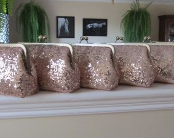 SALE 20% Off,Rose Gold Sequin Clutch Set Of 6,Wedding Accessories,Bridal Accessories,Wedding Clutch,Bridesmaid Clutch, Bridal Purse