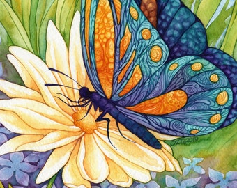 """Whimsical Fantasy Butterfly Painting """"The Butterfly Princess"""" ARCHIVAL ART PRINT 8x10"""