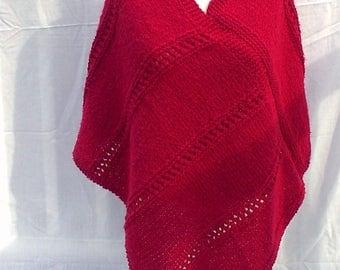 Hand Knit Dark Red Wool Blend Ladies Poncho