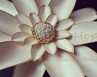 Weddings Handmade Paper Flower 10 Inch Monogrammed Magnolia in the Color of Your Choice