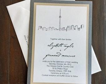 Toronto Wedding Invitation, Custom Pocket Wedding Invitations, Skyline Design