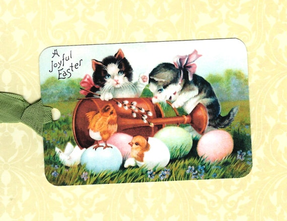 Easter gift tags kittens baby chicks vintage style easter tags easter gift tags kittens baby chicks vintage style easter tags cat lover from luvcrystals on etsy studio negle Choice Image