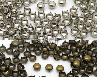 100/200 Pieces Round Studs 7mm Silver Brass Spots Punk Rock Biker Nailhead For DIY Leathercraft