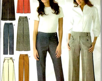 Misses Pants Slim or Wide Leg Side Seam Pockets Button Waist Adult Women Sizes 14 16 18 20 22 Simplicity 3686 Uncut Craft Sewing Pattern