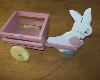 SALE Handmade Wooden Easter Bunny with Cart Easter Toy and Decoration Was 18.00