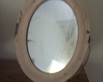 Vintage Shabby Chic Adjustable Metal Oval Mirror Perhaps Shaving Mirror Dresser Mirror