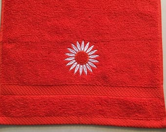 Embroidered Washcloth with Daisy in Tangerine