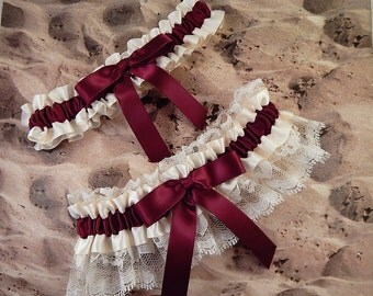 Wedding Garter Belt Toss Set Burgundy Maroon Wine Ivory Ribbon Ivory Lace Bridal Wedding Garter Toss Set Ready to Ship