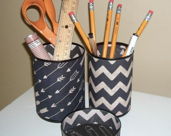 Arrow and Chevron Desk Accessories in Chalkboard Black and Taupe, Pencil Holder, Pencil Cup, Desk Organization, Office Decor, Dorm Decor 894