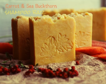 Carrot & Sea Buckthorn Shampoo Bar. Vegan organic shampoo. All natural. For dry to normal hair