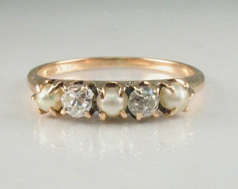 Antique Old European Cut Diamond And Pearl Wedding Ring