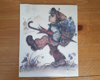 Hummel Print, Dry Mounted on Foam Board, Boy With Umbrella and Basket of Blue Flowers, 7.75x9.5 Inches