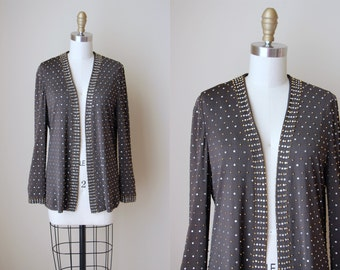 40s Studded Jacket - Vintage 1940s Chocolate Brown Jersey Unstructured Cardigan Paved in Gold Metal Studs and Rayon S M - Dazzle City Jacket