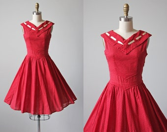 50s Dress - Vintage 1950s Dress - Red Dotted Swiss Cotton Full Skirt Sundress w Rear Bow S - Frankly My Dear Dress