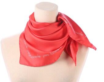 Red White Silk Scarf 80s Designer Torrente Paris Torrente Normcore Simple Minimalist Silk Shawl Neck Scarf Hand Rolled Edges Women Gift