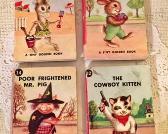 A Tiny Golden Book-cowboy kitten-easter bunny-mr pig-silly picnic