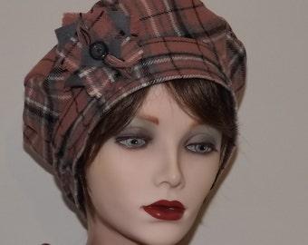 Ladies Pink Tartan Hat, Scottish Tam in Pure Wool
