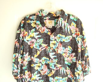 Kahala Suns mens black Hawaiian shirt, Medium, tropical floral on black and grey batik-type print, aloha shirt, Magnum PI style summer shirt