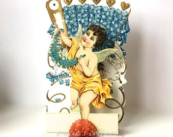 Valentine Antique Fold-Out Die-Cut Cupid Forget-Me-Nots Doves  Stand-Up Germany