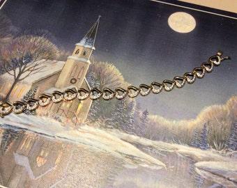 Heart Diamond accent sterling vermeil bracelet - Illusion Heart Tennis bracelet