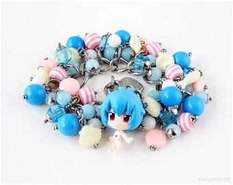 NGE Rei Kawaii Bracelet, Blue, Pink, Cream, Anime Jewelry, Kawaii Jewelry, Decora, 90s, Summer