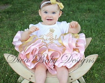Pink and Gold Girls Birthday Dress, Ribbon Trimmed tutu, first birthday outfit baby girls 1st birthday outfits 2nd 3rd 4th 5th birthday