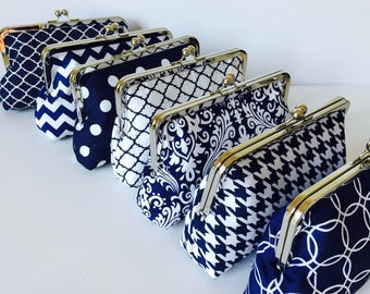 Bridesmaid Clutch Navy and White, Wedding Party Gift - You Design Customize Your Cutiegirlie clutch with your choice of fabrics