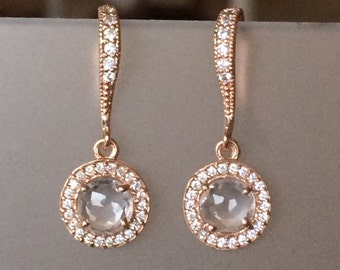 Rose Gold Pave Crystal and Quartz Halo Earrings, Pave, Drop, Dangle, Bridal, Weddings, Rose Gold, Fall Fashion, Everyday