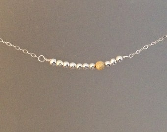 Sterling Silver Bead and Stardust Gold Necklace, everyday jewelry, layering, two tone, Simple, seamless, wire wrapped