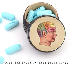 Phrenology Pill Box - Phrenology Non Toxic Vitamin Box - Phrenology Wedding Ring Box - Phrenology Powder Box - A picture of good health Box