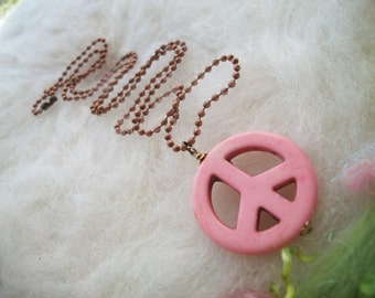 Peace Sign Necklace Pink Peace Sign Bead Copper Ball Chain Peace Jewelry Peace Sign Necklace Hippie Jewelry