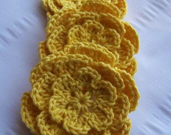 Crocheted flower 2.5 inch cotton set of 3 yellow flower motif