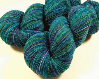 Hand Dyed Lace Yarn - Lace Weight Superwash Merino Wool Yarn - Aegean Multi - Knitting Yarn, Hand Dyed Yarn, Turquoise Blue Green Aqua