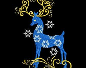 REINDEER SWIRLS #7 - 1 Machine Embroidery Design Instant Download 4x4 5x5 6x6 hoop (AzEB)