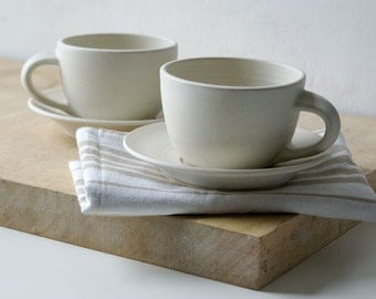 Pottery cappuccino cups with saucers - handmade and glazed in vanilla cream